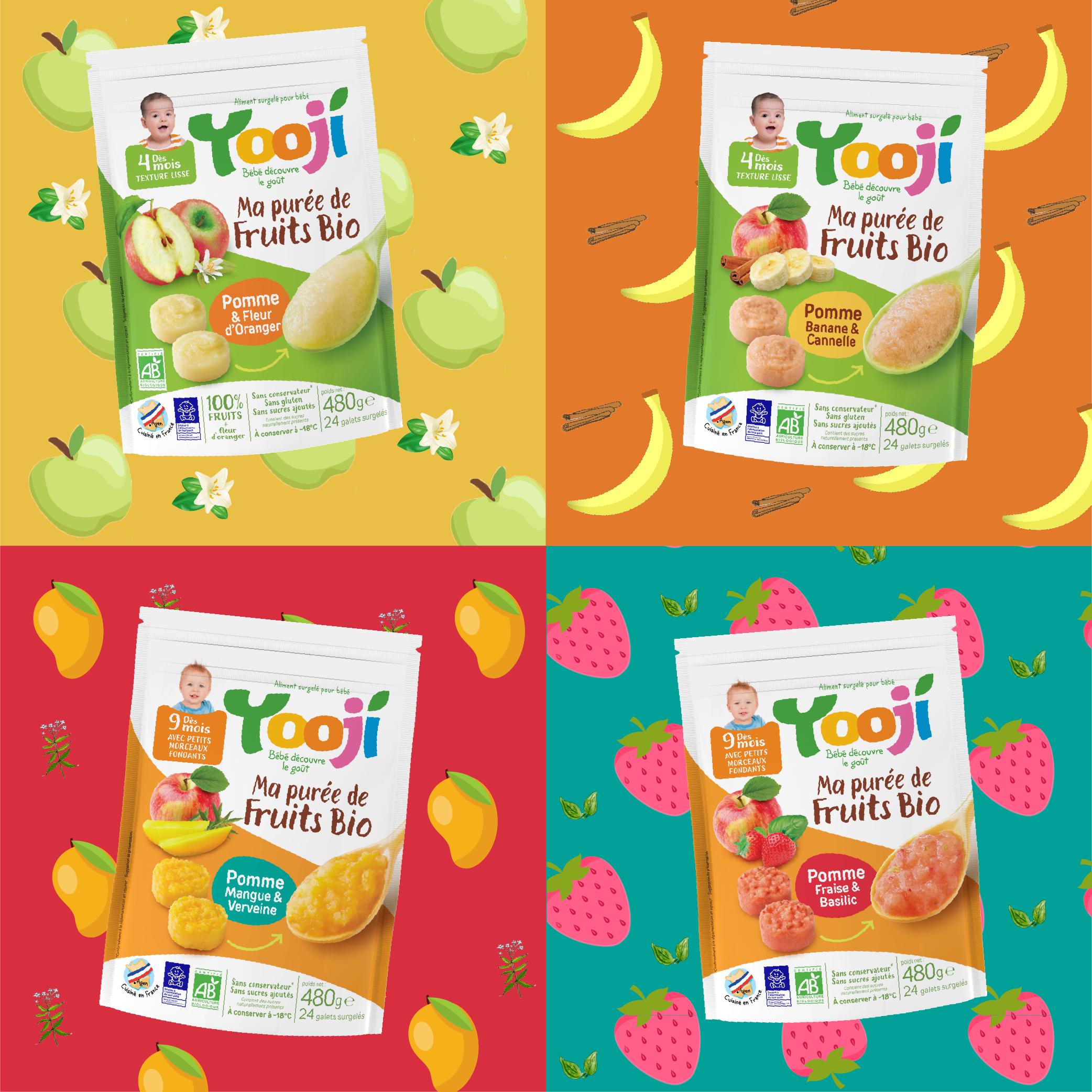 Les purées de fruits Bio de chez Yooji