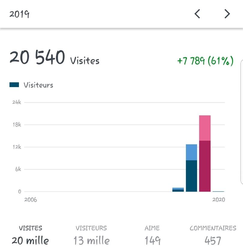 Statistiques 2019 blog Mamounette à l'ouest.
