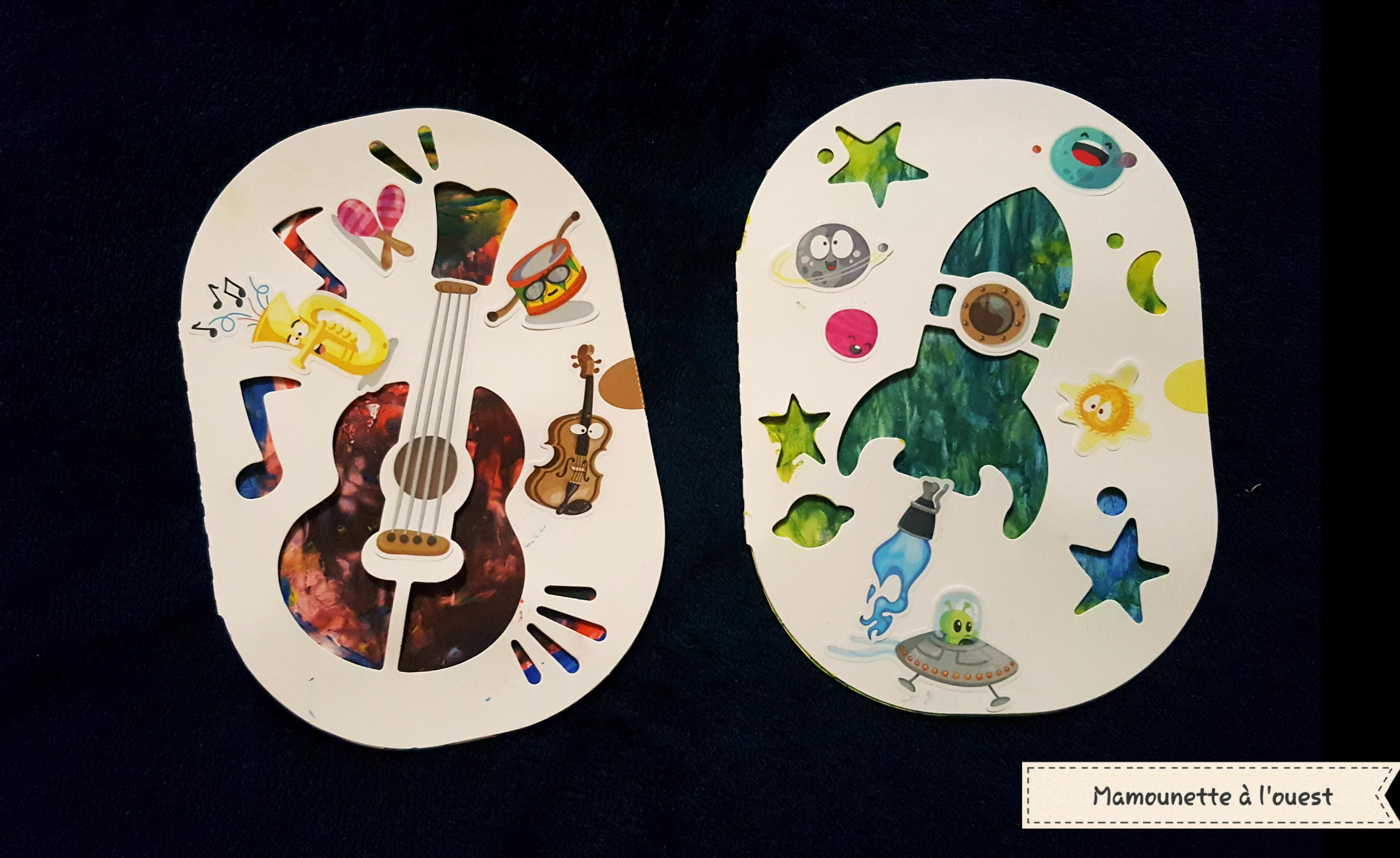Les réalisations de Manoë avec Mon premier Kit de peinture au doigt de Maped Créativ, sur le thème de la musique et de l'espace.