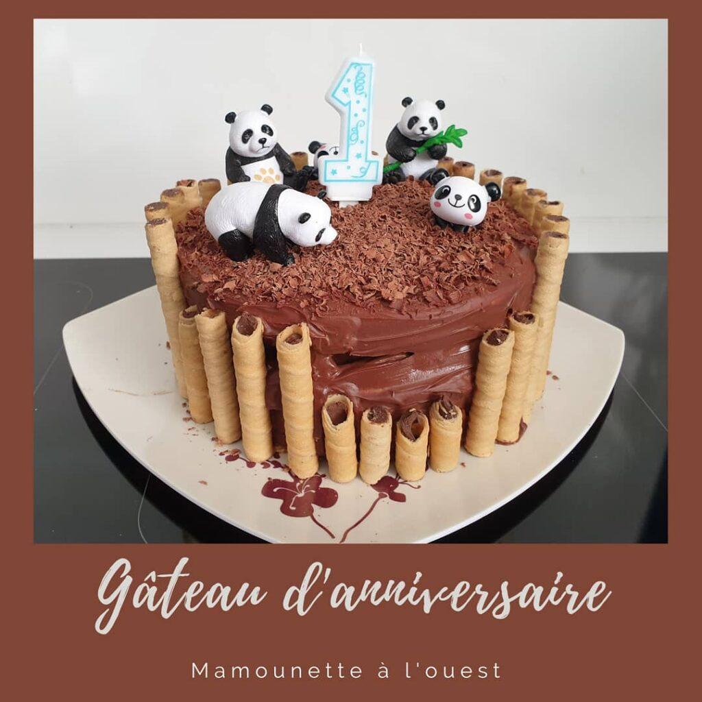 Gateau chocolat kiwi sur le thème panda