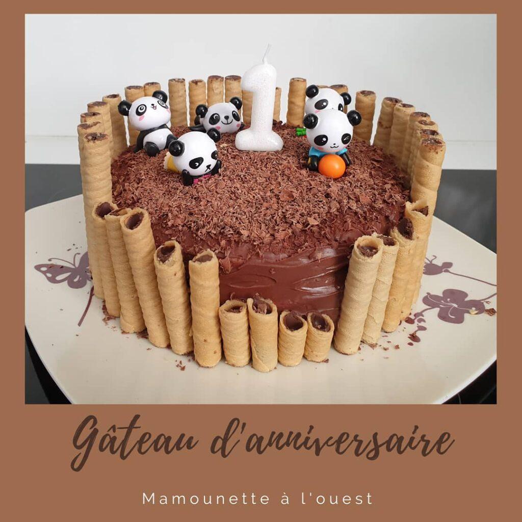 Gâteau au chocolat sur le thème panda
